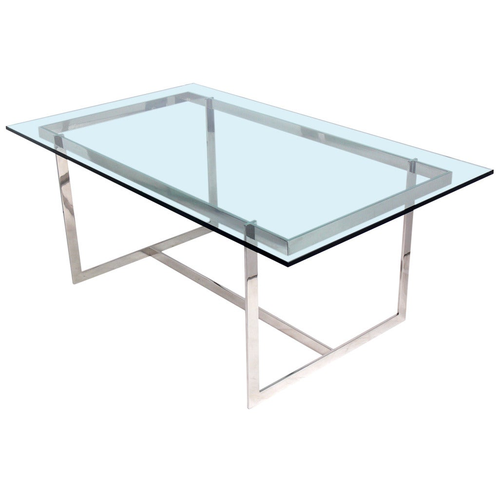 Clean Lined Glass And Chrome Dining Table Or Desk For Sale At 1stdibs