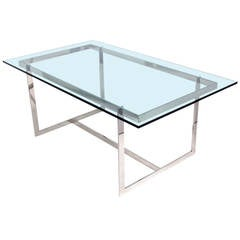 Clean Lined Glass and Chrome Dining Table or Desk