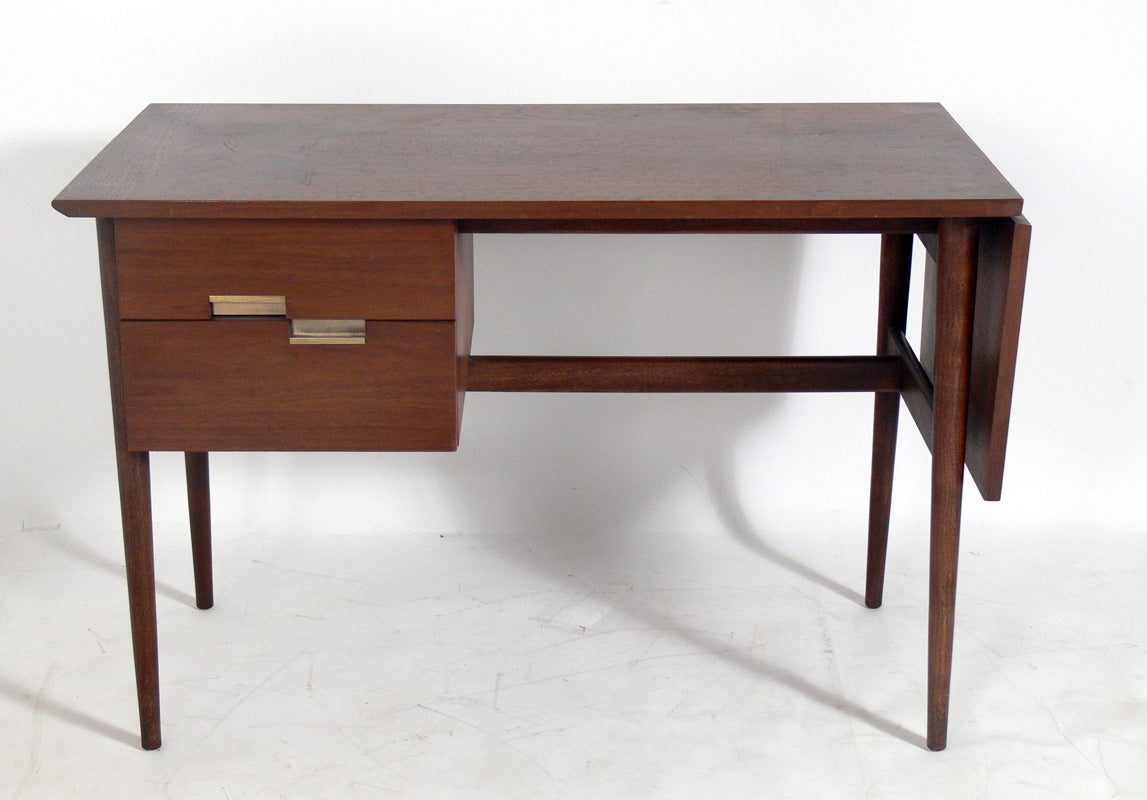 Mid Century Walnut And Brass Desk By American Of