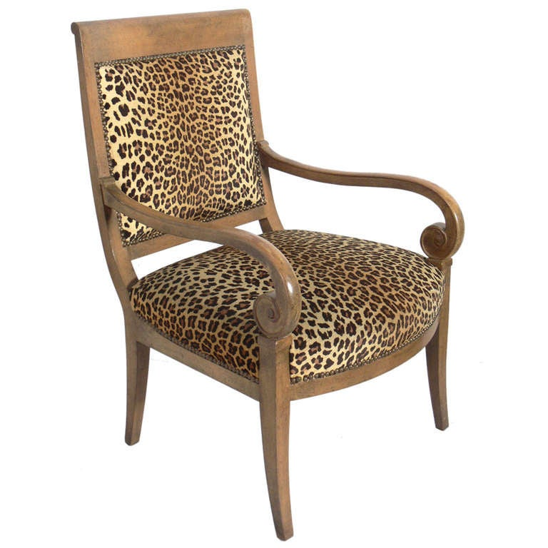 Curvaceous Armchair in Original Leopard Upholstery For Sale