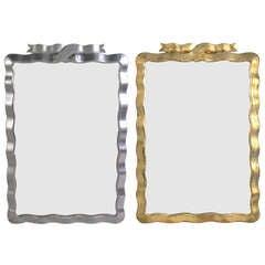 Elegant Ribbon Form Mirror in Silver or Gold Leaf