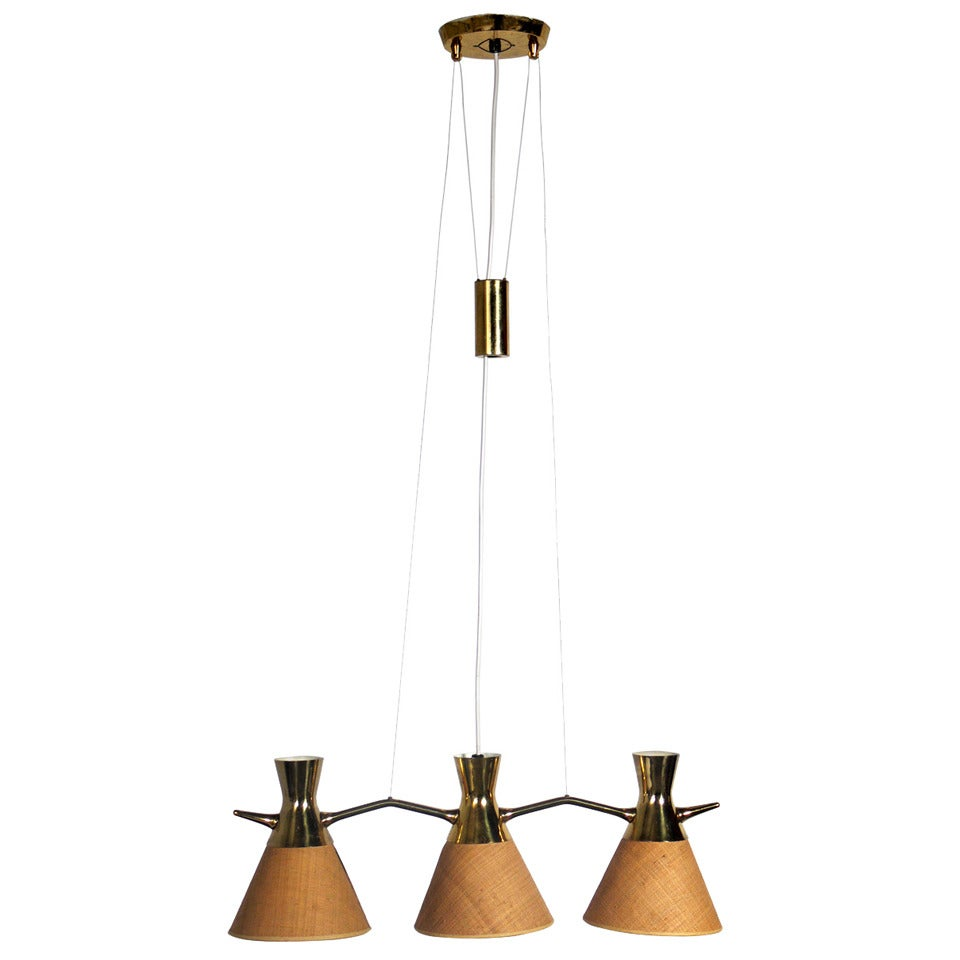 Modern Brass Chandelier or Pendant Light in the manner of Paavo Tynell