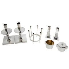 Selection of Modernist Silver Plated Candlesticks and Tableware