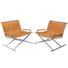 Pair of Chrome and Woven Reed Sled Chairs by Ward Bennett