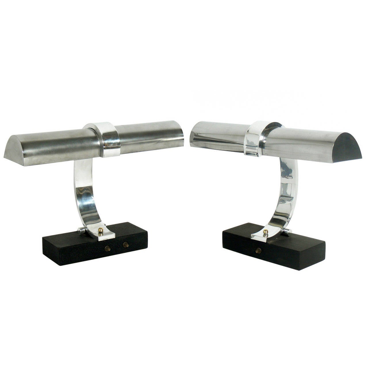 Pair of Art Deco Chrome Lamps in the manner of Donald Deskey