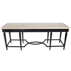 Large Scale Black Lacquer and Travertine Top Console Table