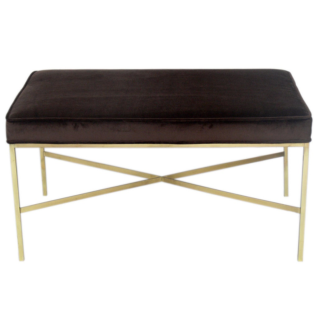 Modernist Brass X Base Bench By Paul Mccobb At 1stdibs