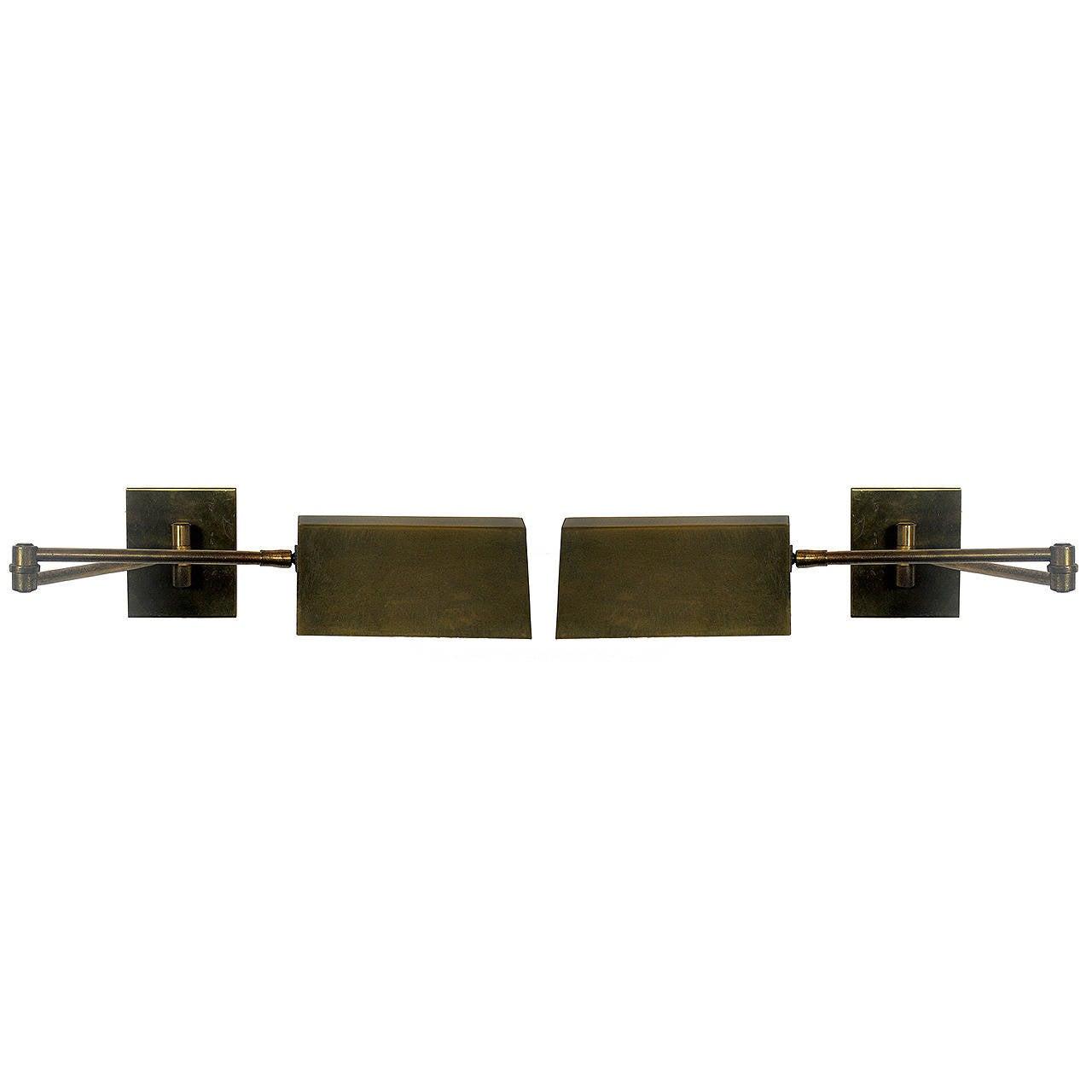 Pair of Brass Swing Arm Sconces