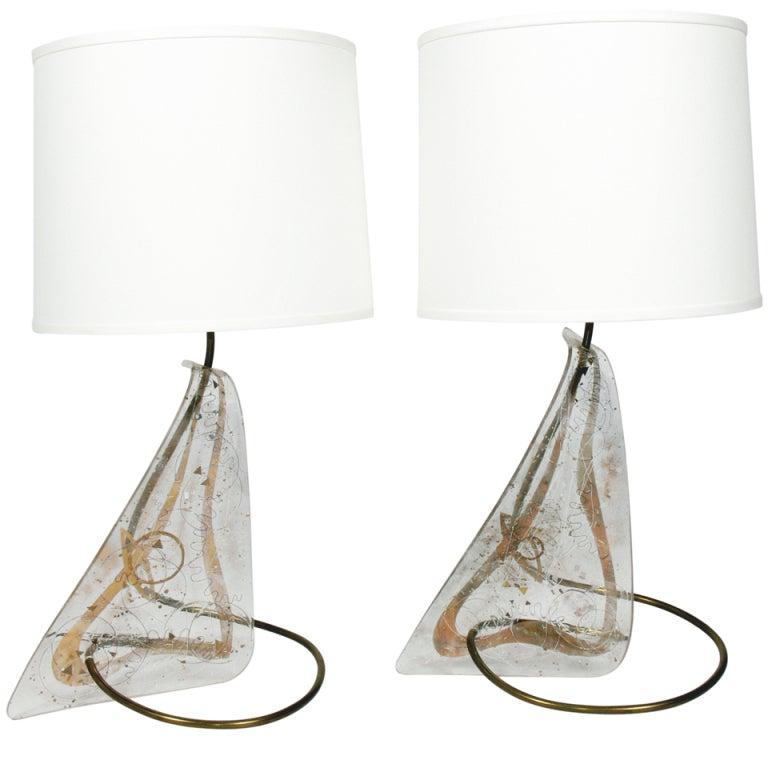 Pair of Unique Sculptural Lamps by Zahara Schatz For Sale
