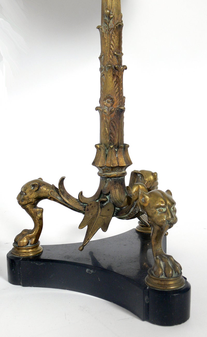 Pair of 19th Century Bronze and Marble Lamps 4