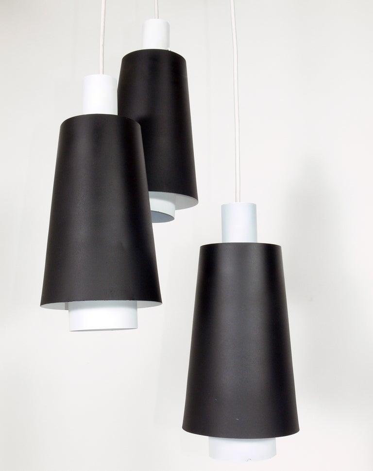 Mid-Century Modern Pair of Danish Modern Pendant Light Fixtures or Chandeliers For Sale