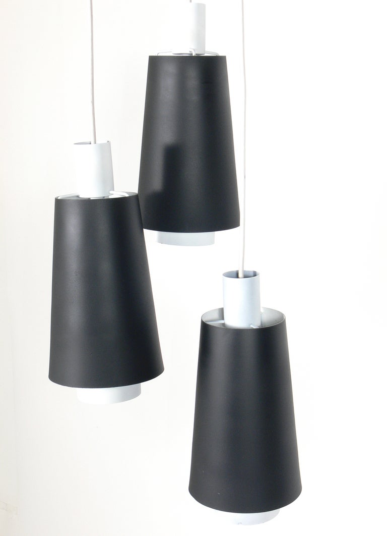 Mid-20th Century Pair of Danish Modern Pendant Light Fixtures or Chandeliers For Sale
