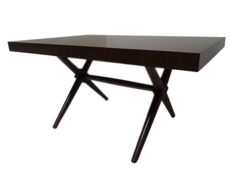 Sculptural x base dining table designed by t h robsjohn for Hades dining table th8