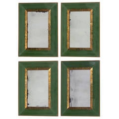 Elegant Green Glass and Gold Leafed Antiqued Mirrors