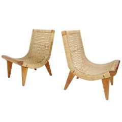 Pair of Woven Grass Scoop Chairs