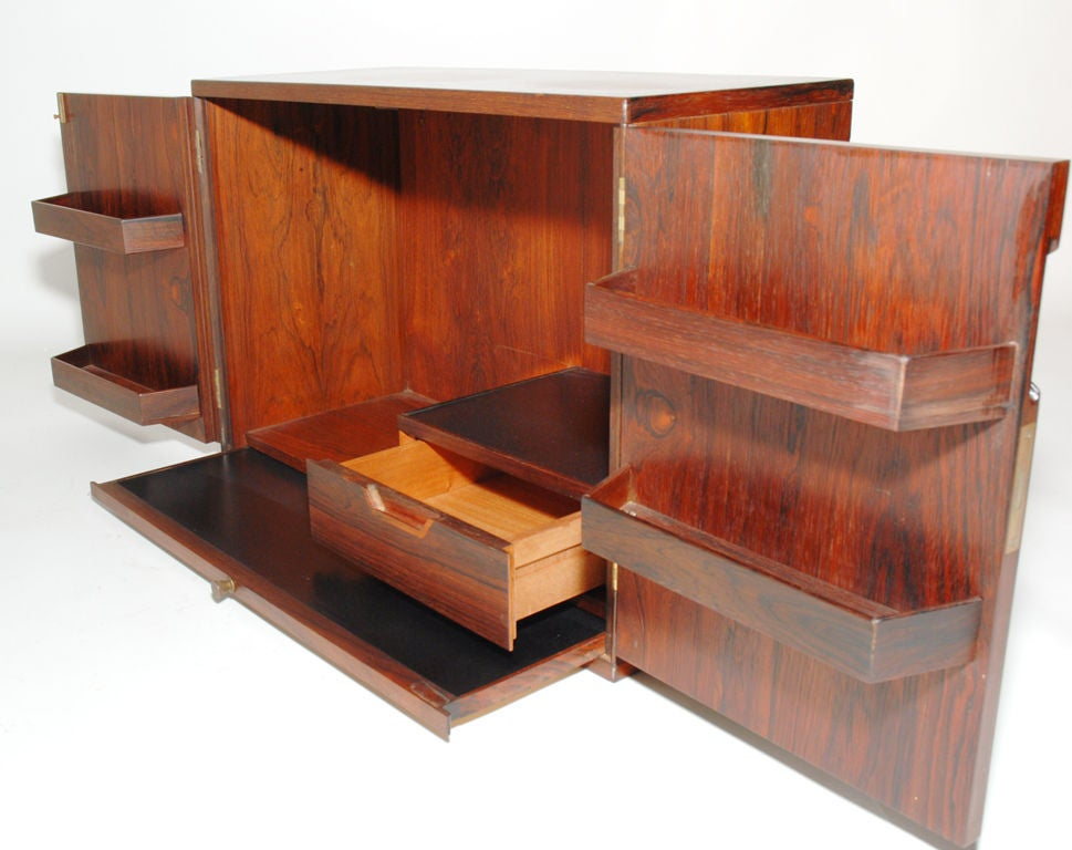 wall mounted rosewood bar cabinet by svend langkilde at