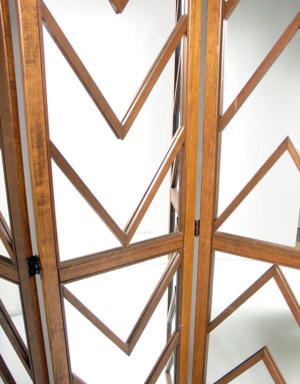 American Mirrored Chevron Folding Screen