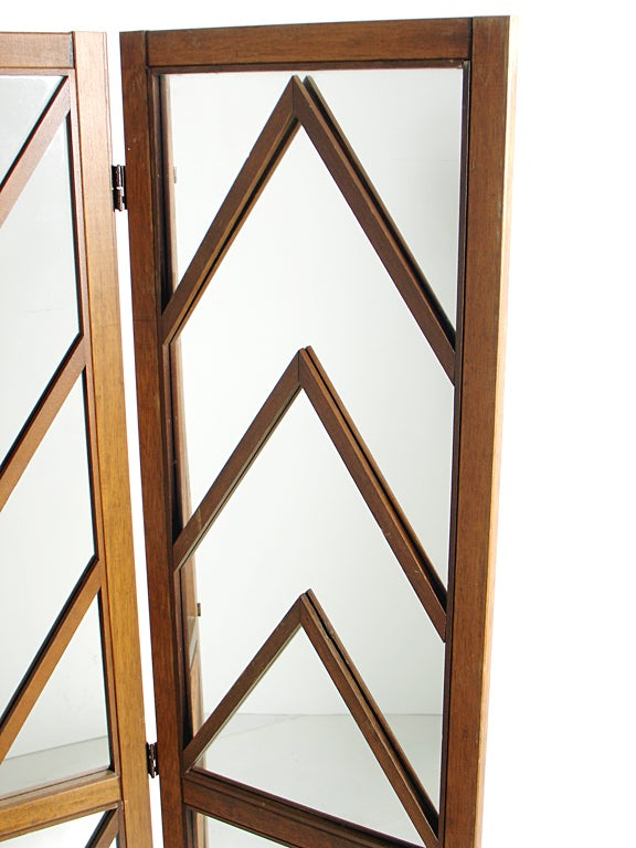 Mid-20th Century Mirrored Chevron Folding Screen
