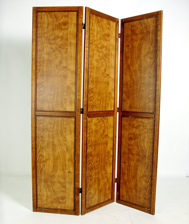 Walnut Mirrored Chevron Folding Screen