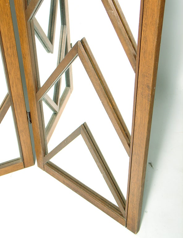 Mirrored Chevron Folding Screen 1