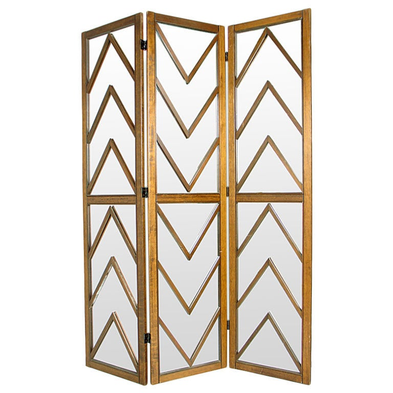 Mirrored Chevron Folding Screen