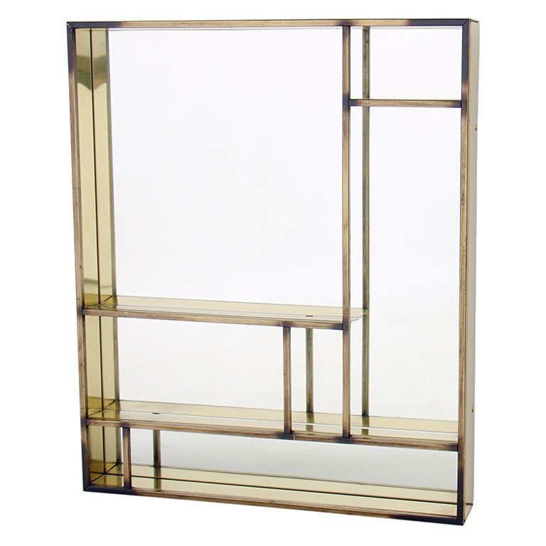Architectural brass mirror or shelf by curtis jere at 1stdibs for Mirror with shelf