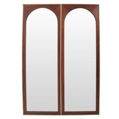 Modernist Arched Mirror in Walnut and Brass