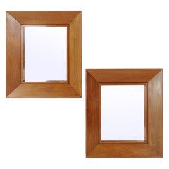 Pair of Deep Profile Modernist Walnut Mirrors