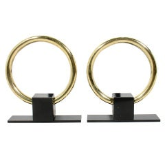 Elegant Modernist Brass Circle Andirons