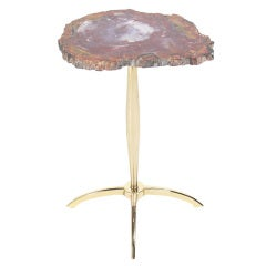 Modernist Petrified Wood and Brass Table after Philippe Hiquily