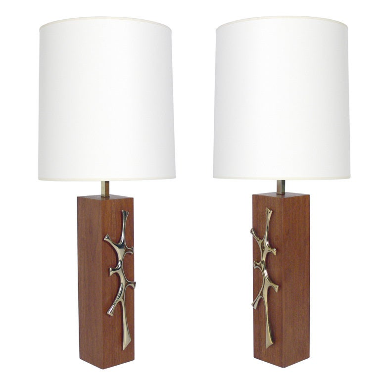 Pair of Modernist Walnut Lamps with Brass Sculptural Details