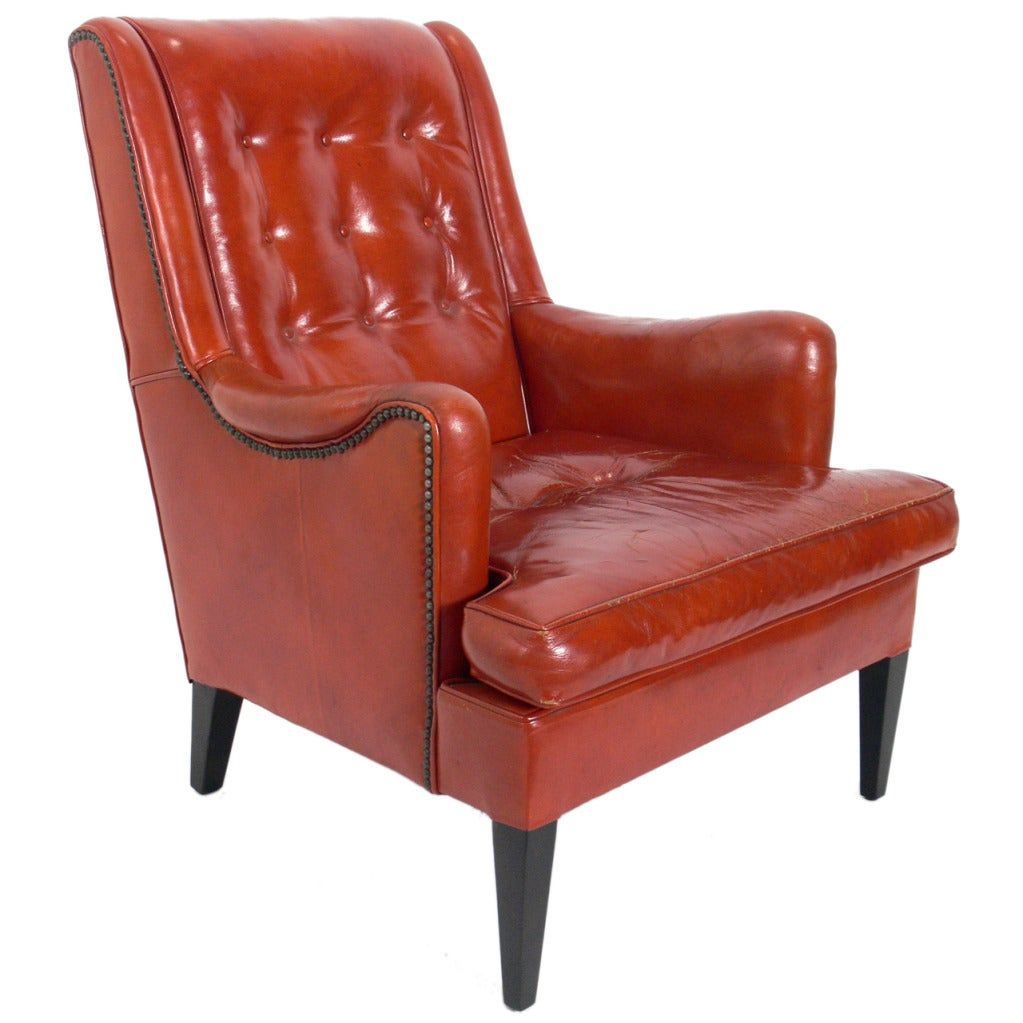 Curvaceous 1940u0027s Lounge Chair In Original Burnt Orange Leather For Sale