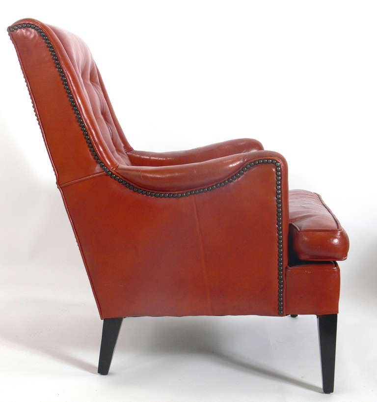 Curvaceous 1940 s Lounge Chair in Original Burnt Orange Leather at 1stdibs