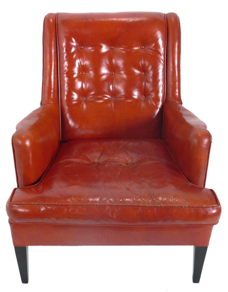 Curvaceous 1940's Lounge Chair in Original Burnt Orange Leather In Good Condition For Sale In Atlanta, GA