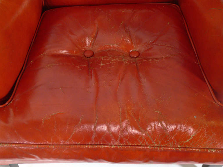 Curvaceous 1940's Lounge Chair in Original Burnt Orange Leather For Sale 1