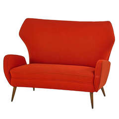 Italian Mid Century Settee in the Manner of Carlo di Carli