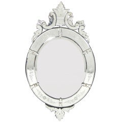 Elegant 19th Century Oval Venetian Mirror