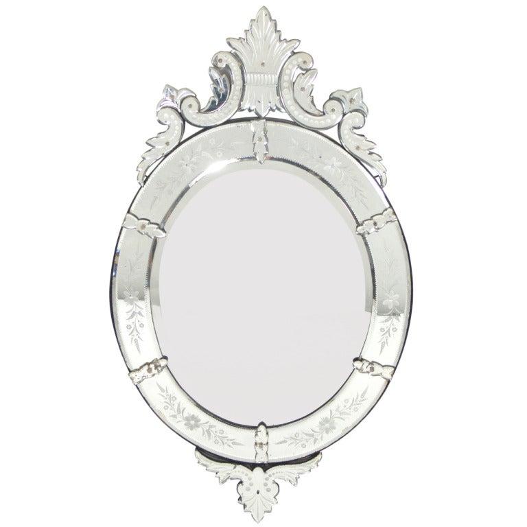 Elegant 19th Century Oval Venetian Mirror
