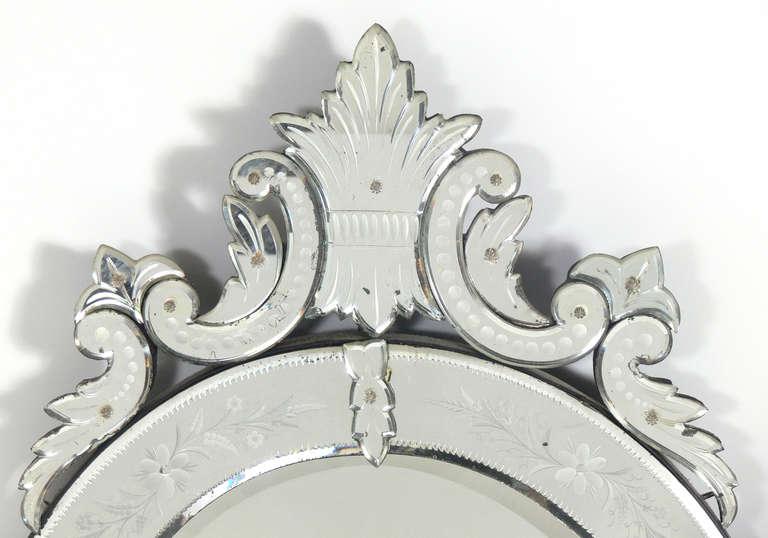 Italian Elegant 19th Century Oval Venetian Mirror For Sale
