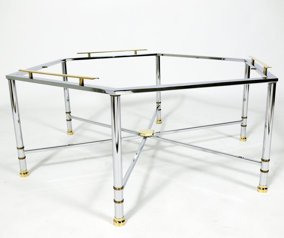 Modern Hexagonal Coffee Table In Chrome With Brass Accents At 1stdibs