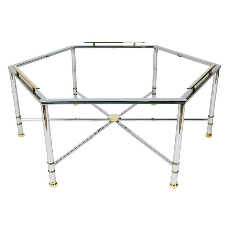 Http 1stdibs Com Furniture Tables Coffee Tables Cocktail Tables Modern Hexagonal Coffee Table Chrome Brass Accents Id F 651940