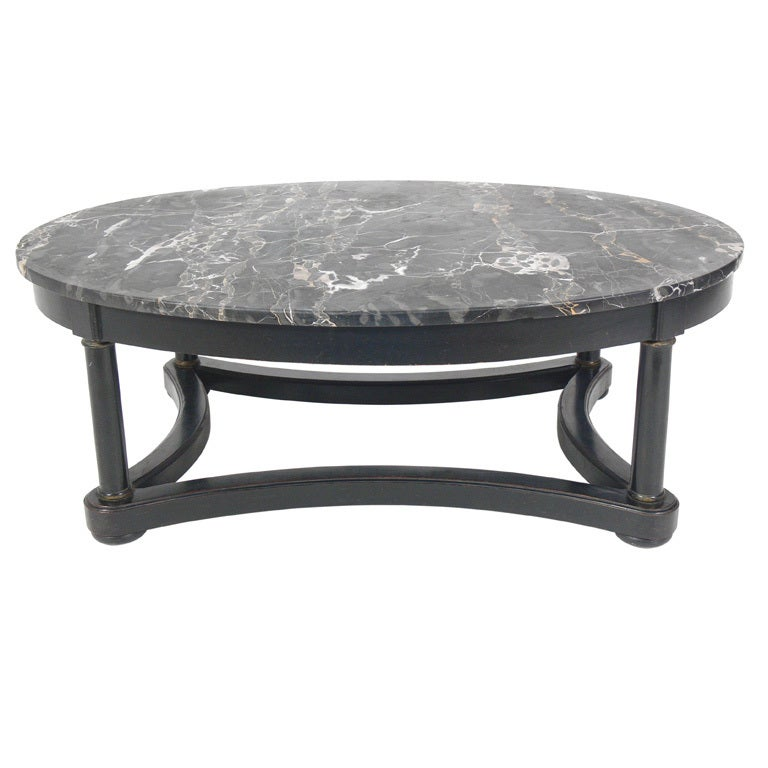 elegant 1940 39 s oval marble top coffee table at 1stdibs