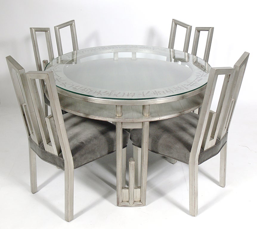 James mont silver leaf dining or game table and four for 3 leaf dining room tables