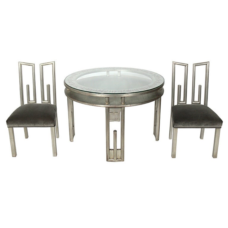 James mont silver leaf dining or game table and four for Dining room game table