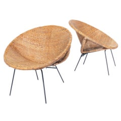 Pair of California Modern Woven Reed Scoop Chairs