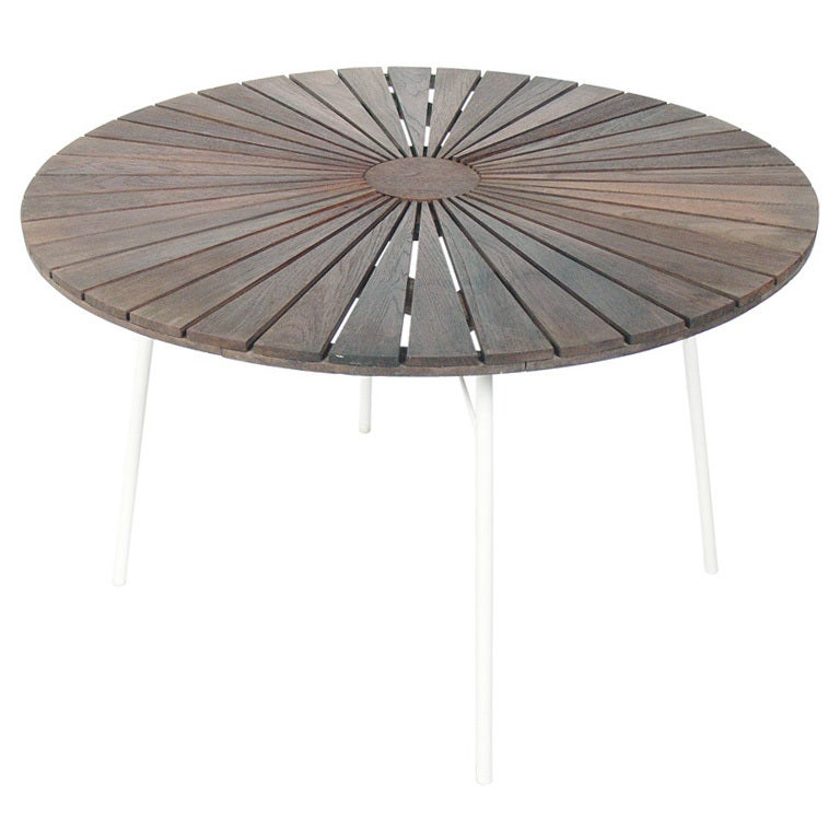 Danish Modern Sunburst Dining Table Indoor Outdoor At
