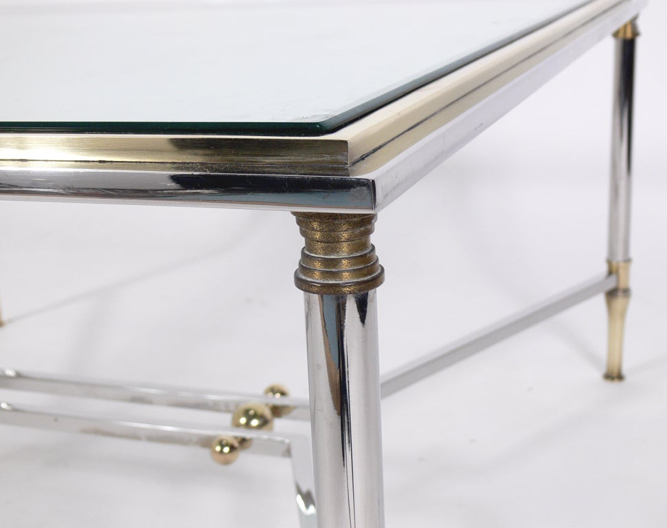 Modern Coffee Table In Chrome With Brass Accents At 1stdibs