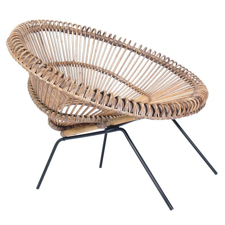 Sculptural Italian Modern Rattan Scoop Chair 2