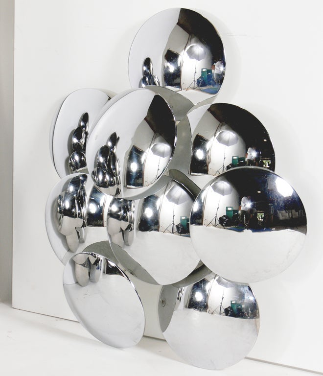 Pair of Large Scale Sculptural Chrome Sconces by Reggiani at 1stdibs