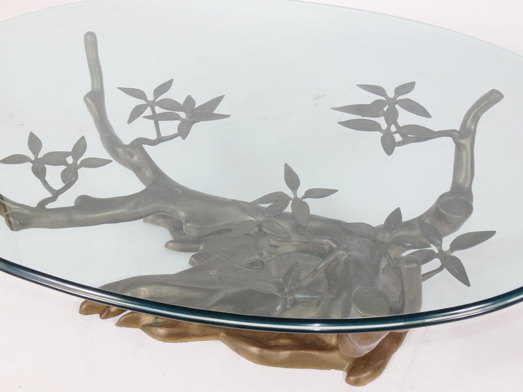 Sculptural Brass Tree Form Coffee Table Base image 3
